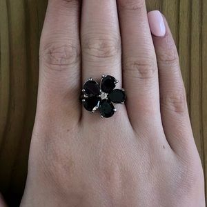 Jewelry - Black Flower Ring with Silver and Clear Stones